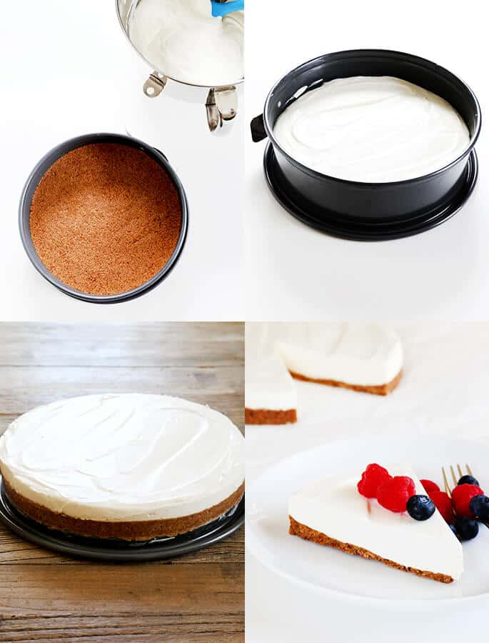 Cheesecake being assembled and a slice of cheesecake on a white plate