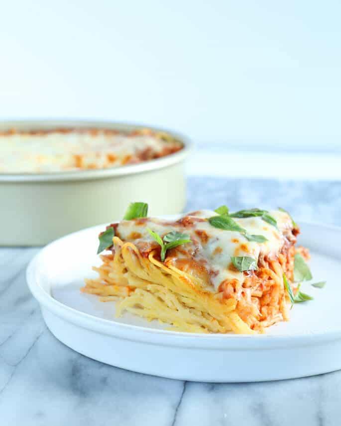Spaghetti pies on a white plate
