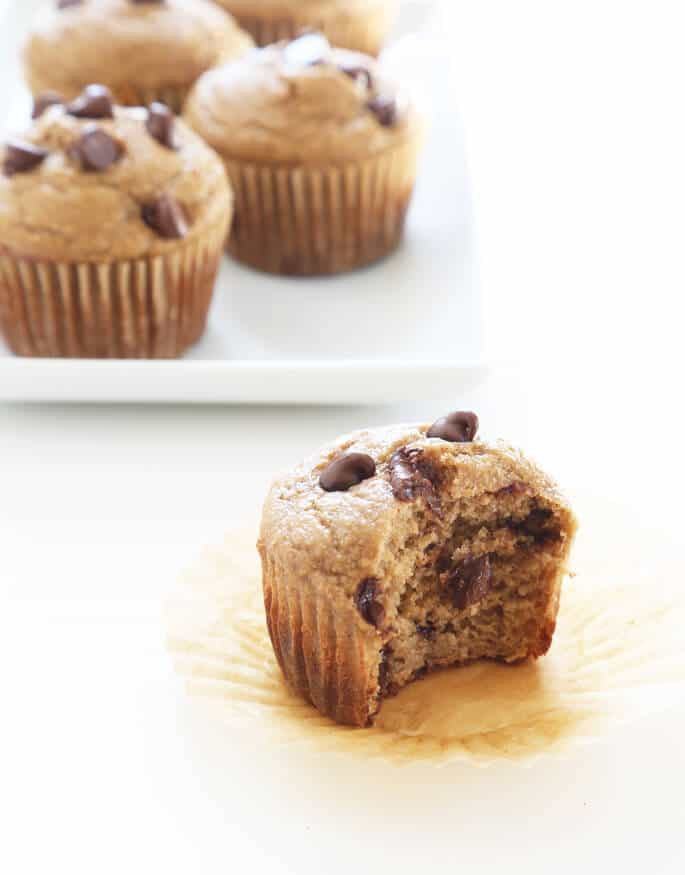 These healthy banana muffins are naturally gluten free and made with no butter, no oil and no added refined sugars. Make the batter in the blender!