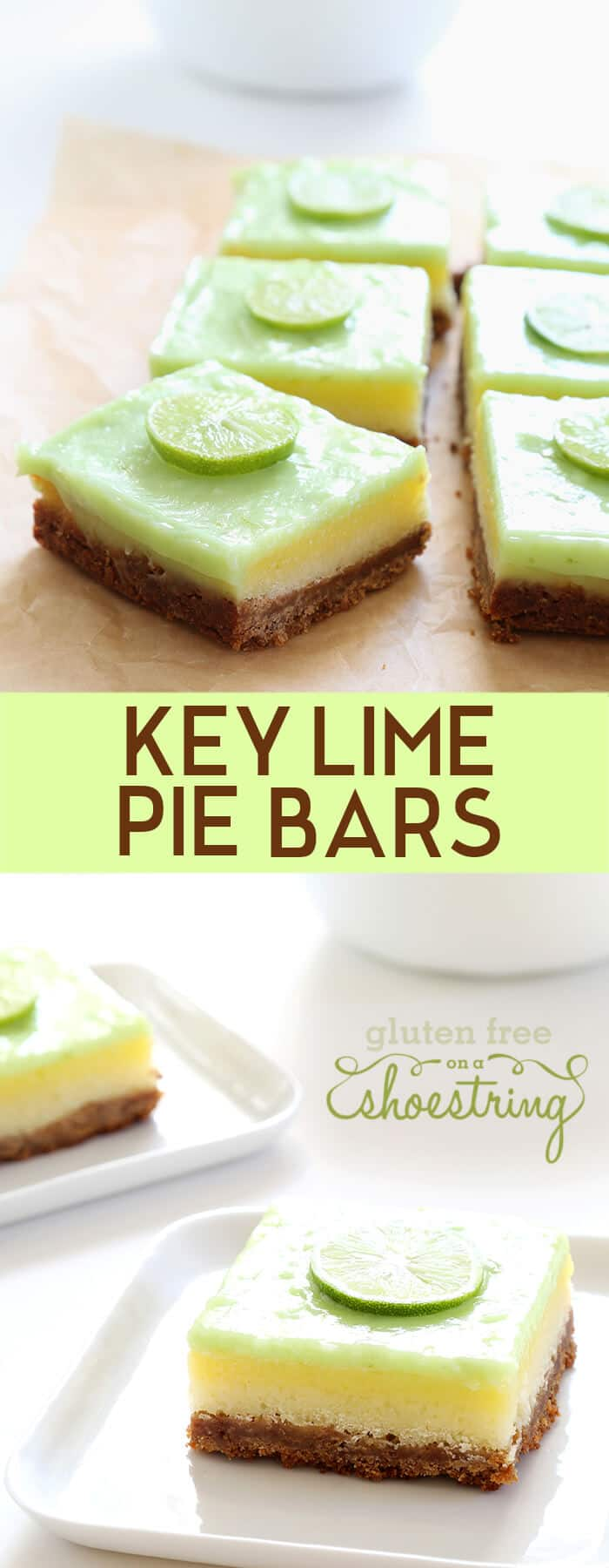Key lime pie bars on parchment paper and on a white plate