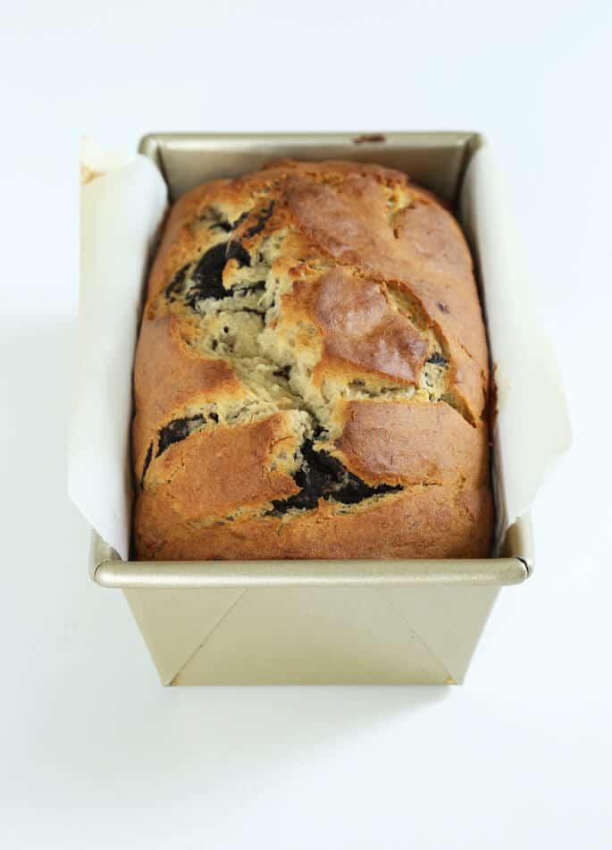 Banana bread in a metal loaf pan