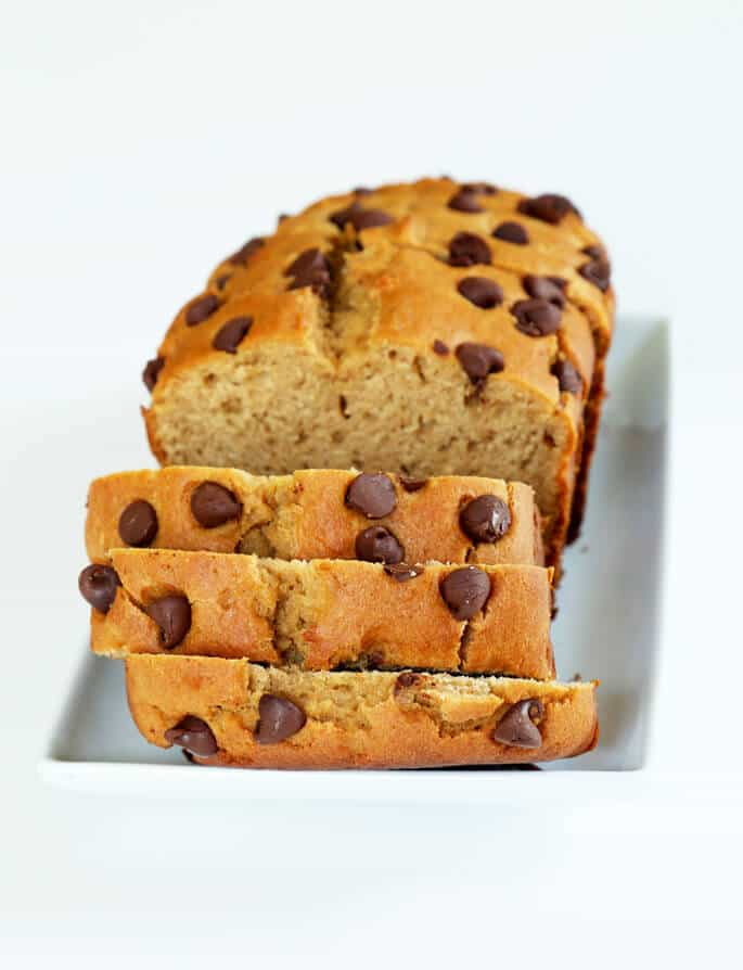 Low in sugar and with no added butter or oil, this gluten free peanut butter bread is still moist, tender, and full of peanut flavor.