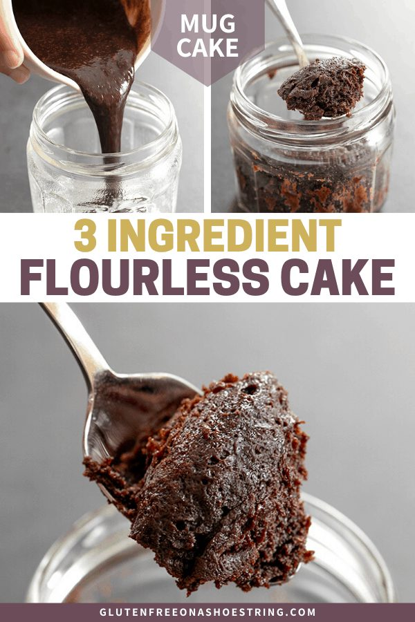 3 Ingredient flourless chocolate cake being poured into jar, and serving a spoonful of cake