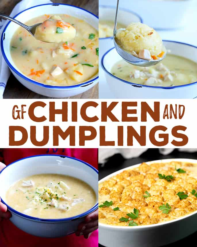 Gluten free chicken and dumplings is a savory blend of aromatic vegetables, chicken, a simple white sauce and just the right spices. Learn to make it in 4 unique ways for a simple, hearty meal any day of the week.