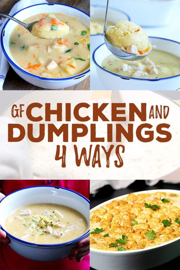 Gluten free chicken and dumplings is a savory blend of aromatic vegetables, chicken, a simple white sauce and just the right spices. Learn to make it in 4 unique ways for a simple, hearty meal any day of the week. #chicken #glutenfree #gf #casserole #dumplings #potpie