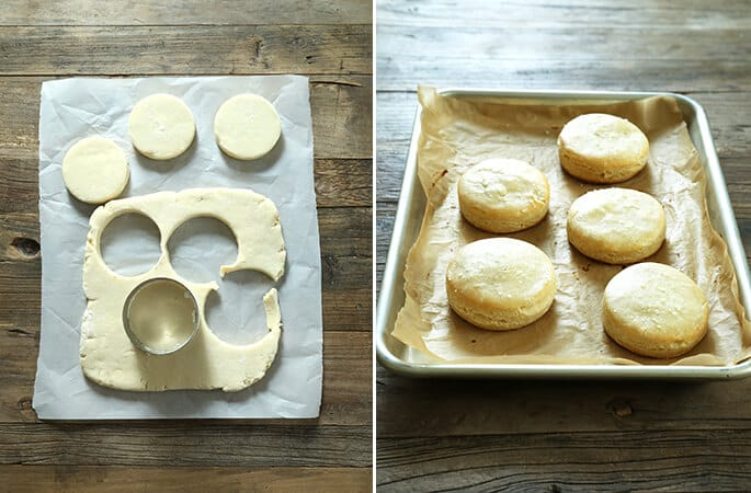 Biscuit dough and biscuits on a metal tray