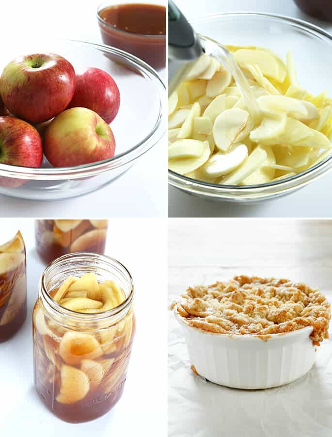 A bowl of apples, and apple slices, and a jar with apple pie filling, and apple pie in a white dish