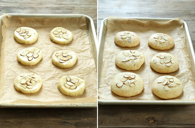 Almond cookies on a metal tray