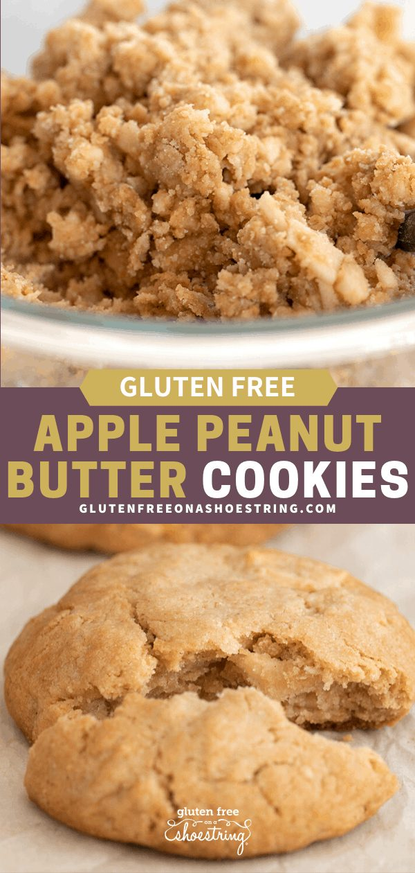 Apple peanut butter cookie dough in a bowl, and cookies baked on a tray, one broken in half