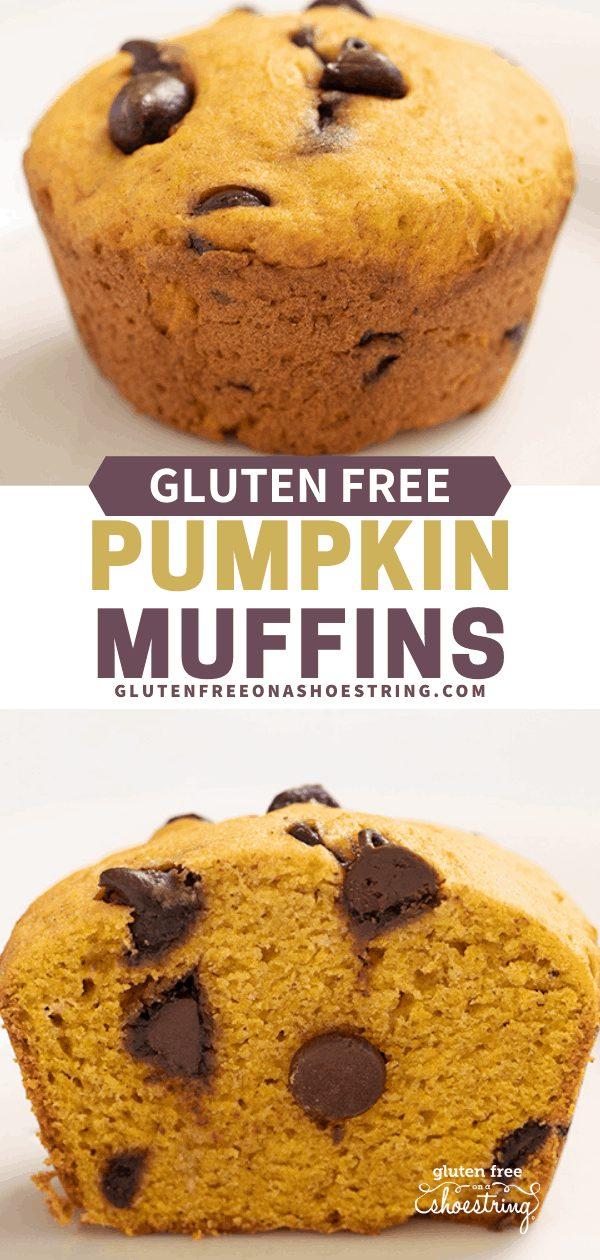 Pumpkin Chocolate Chip Muffin whole and mufin cut in half
