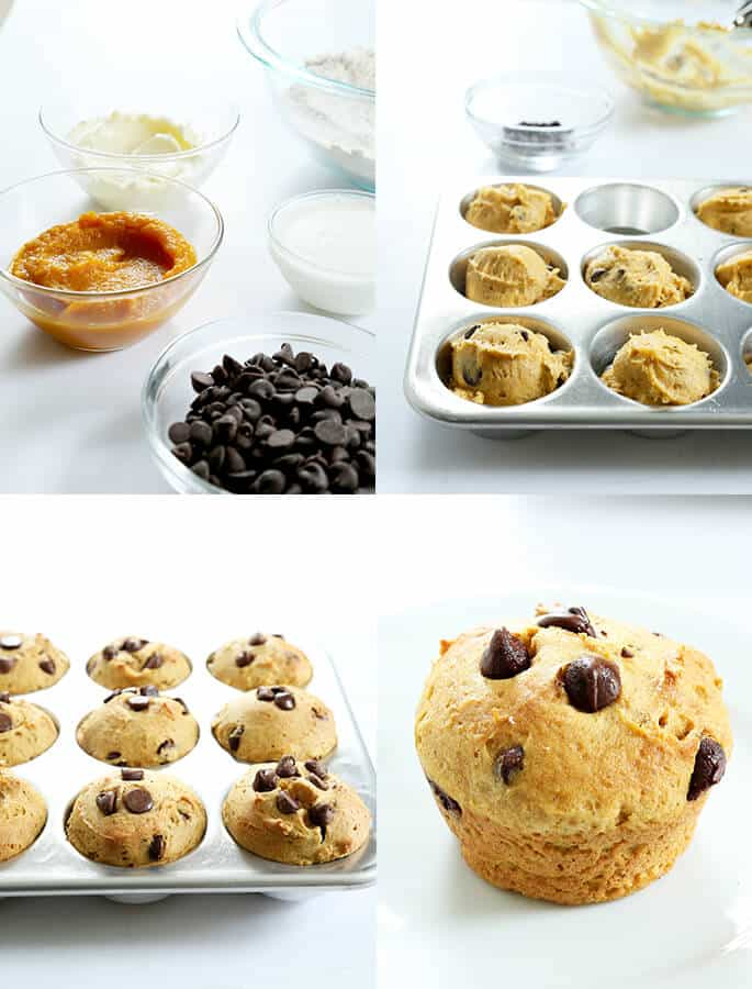 Quick and Easy Gluten Free Pumpkin Chocolate Chip Muffins, Step by Step