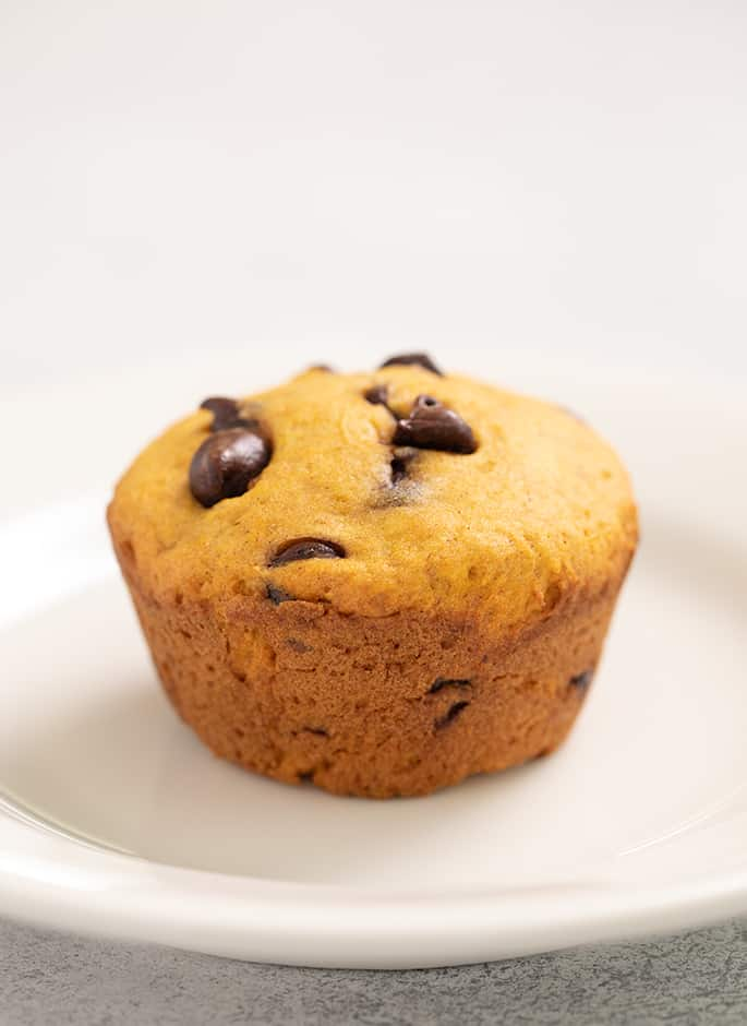 Whole pumpkin chocolate chip muffin on small white plate