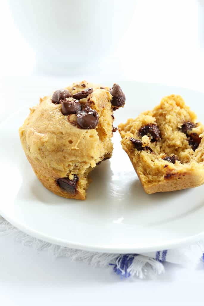 These moist and tender gluten free pumpkin chocolate chip muffins are made with simple pumpkin puree in the batter and plenty of pumpkin pie spice. A quick and easy muffin that celebrates the best of the season.