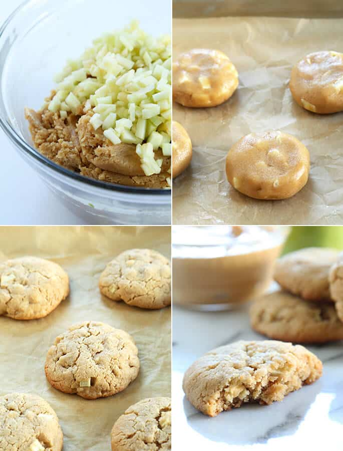 Thick and Chewy Gluten Free Apple Peanut Butter Cookies, Step by Step