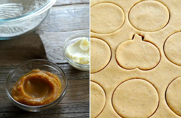 Bowl of pumpkin puree and sugar cookie dough with circle and pumpkin cutouts