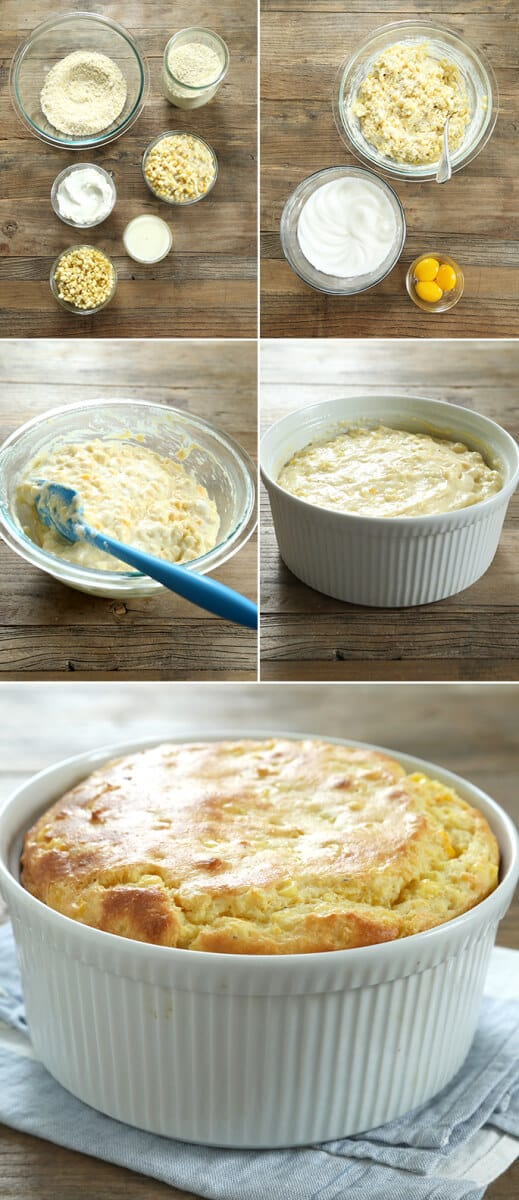 Cornmeal spoonbread raw batter in a bowl, in the casserole dish, then baked in the dish.