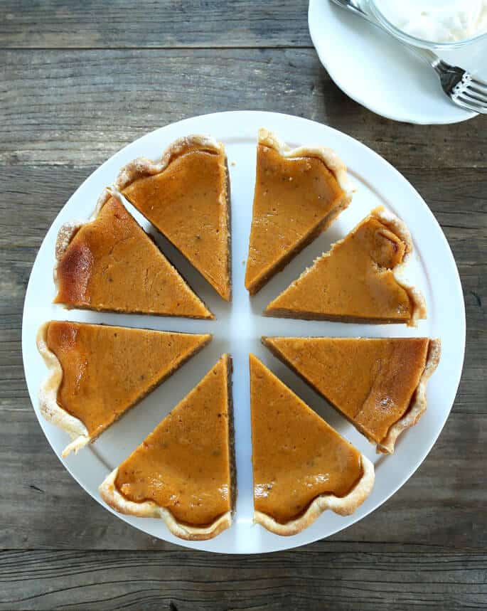 Overhead view of a pumpkin pie with 8 slices