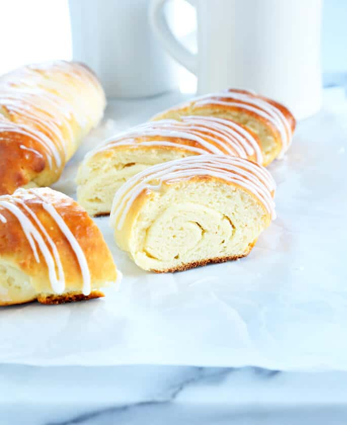 Danish bread on a white surface