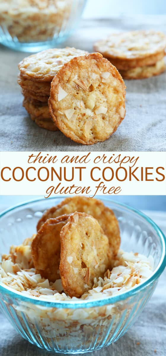 A stack of coconut cookies on gray surface and coconut cookies in a bowl with coconut chips