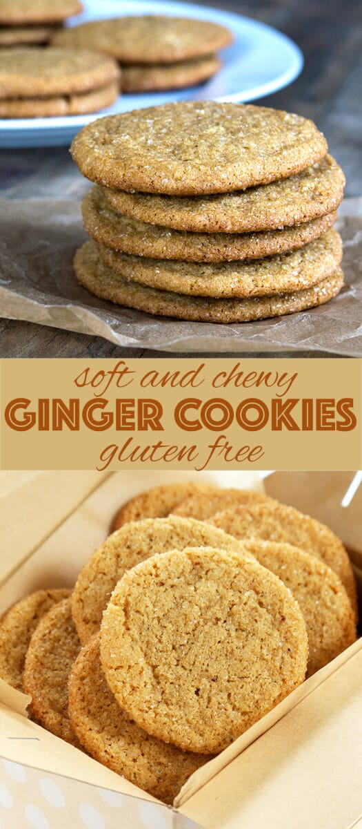 A stack of ginger cookies on parchment paper and a box filled with ginger cookies