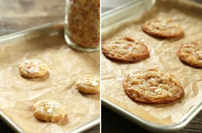 Coconut cookie dough on parchment paper and coconut cookies on parchment paper