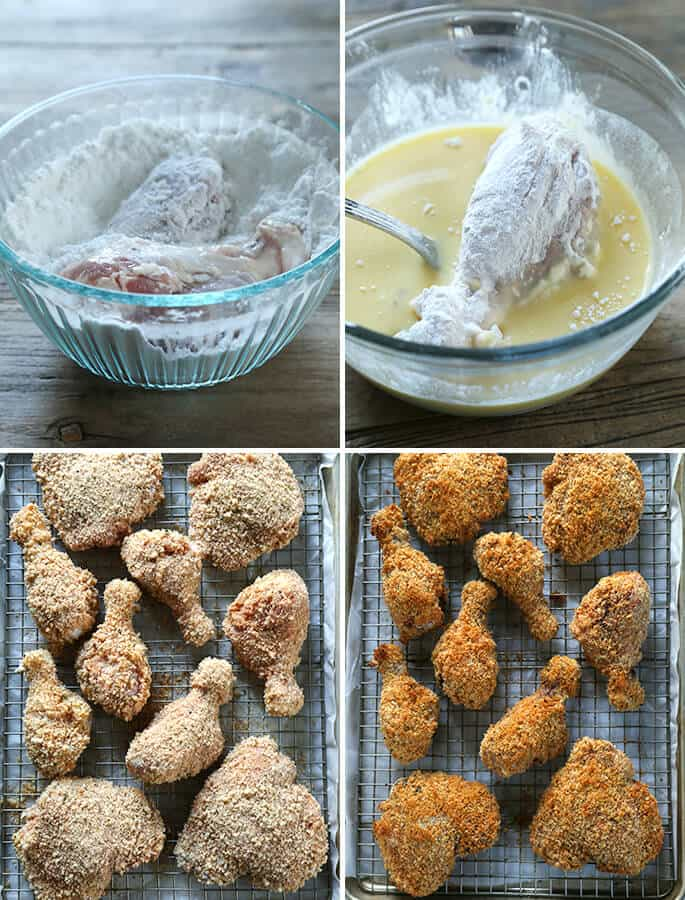 """Healthy Gluten Free Baked """"Fried"""" Chicken, Step by Step"""