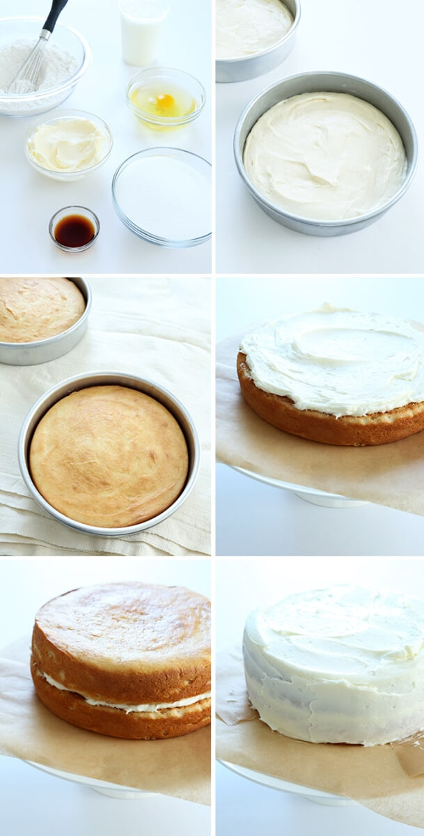 ingredients for vanilla cake, raw cake batter in a round pan, baked cake in a round pan, layer on pedastal with frosting, two layers frosted and unfrosted