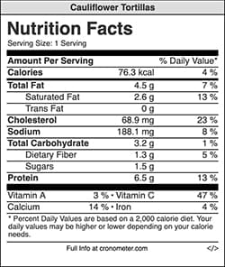 Nutrition information for 1 serving of cauliflower tortillas.