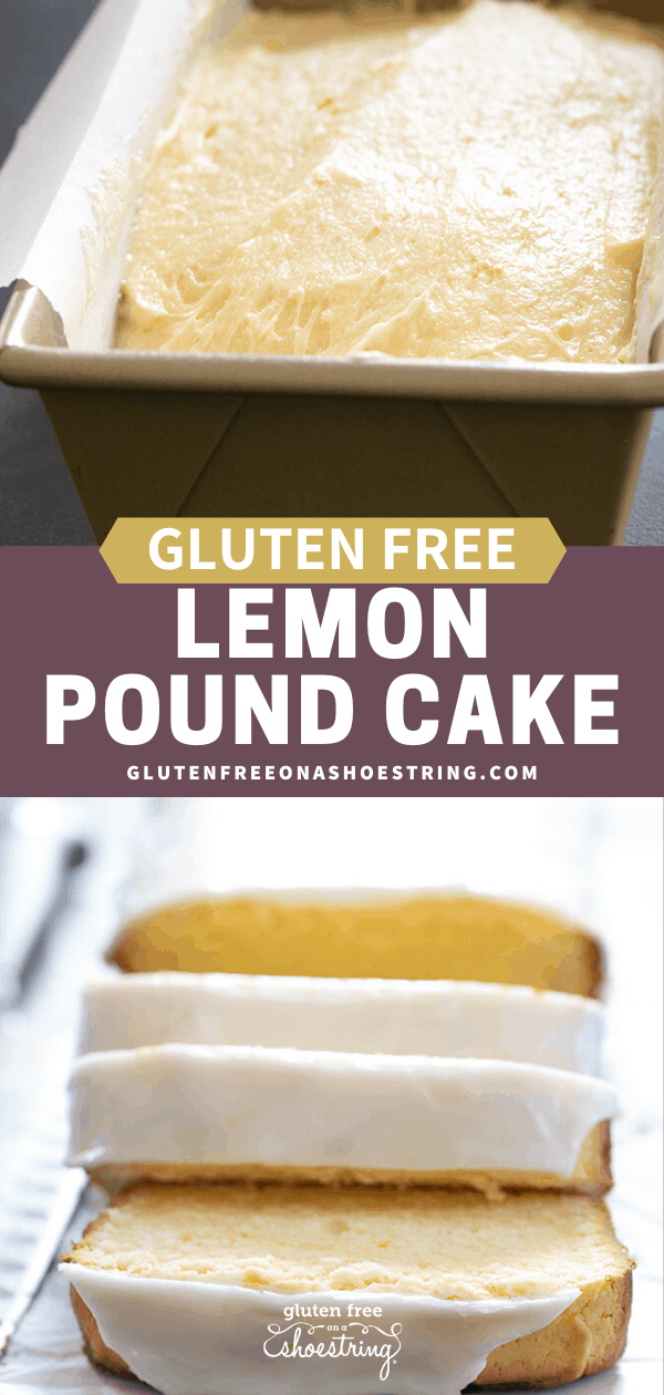 Two images of iced gluten free lemon pound cake, one raw and one finished and sliced.