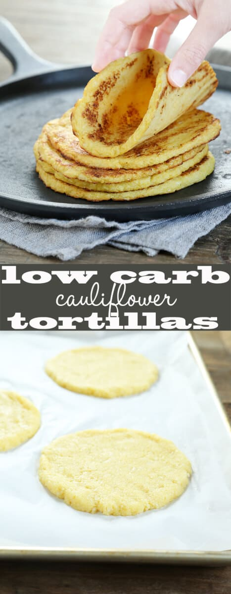Cauliflower tortillas in a stack and on a tray raw.