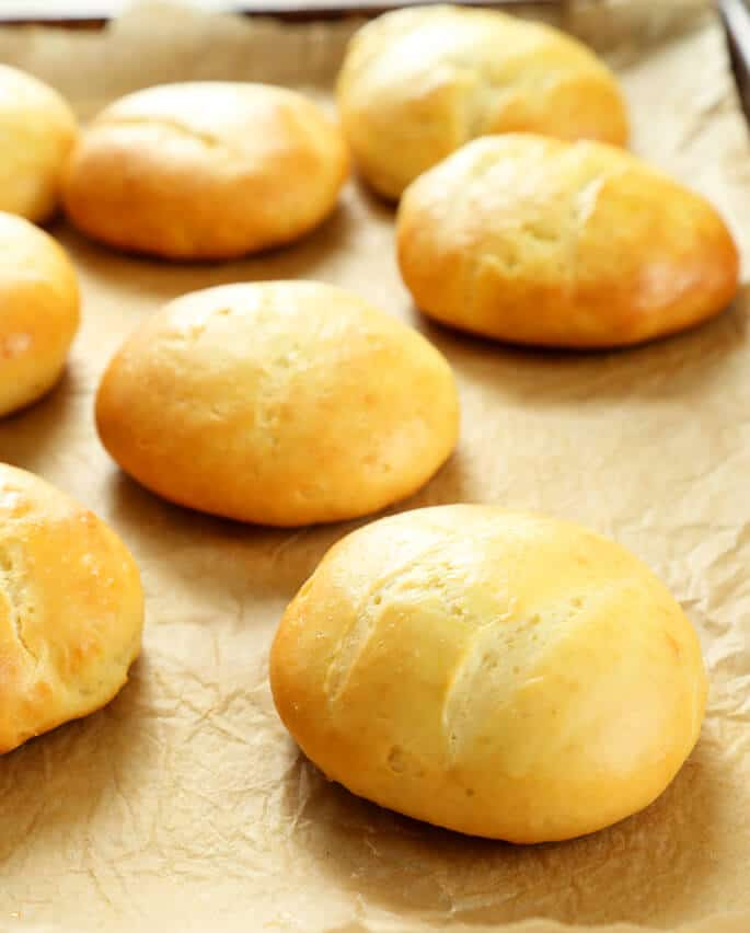 Beautiful, soft gluten free rolls that are ready in 40 minutes total because there's no rise!