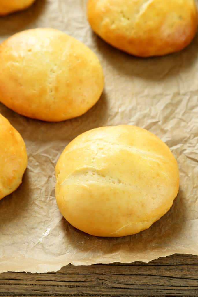 Close up of yeast roll on brown paper