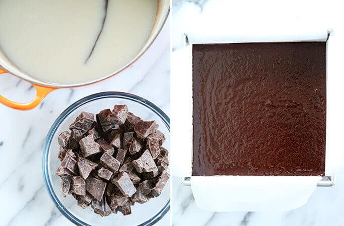 Overhead view of bowl of chocolate and overhead view of vegan fudge