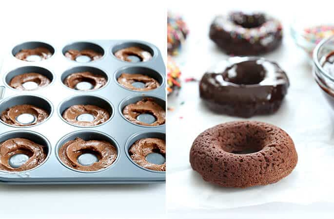 two images, one of cake donut batter in the pan and one of baked donuts