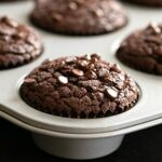 Flourless peanut butter chocolate muffins baked in tray