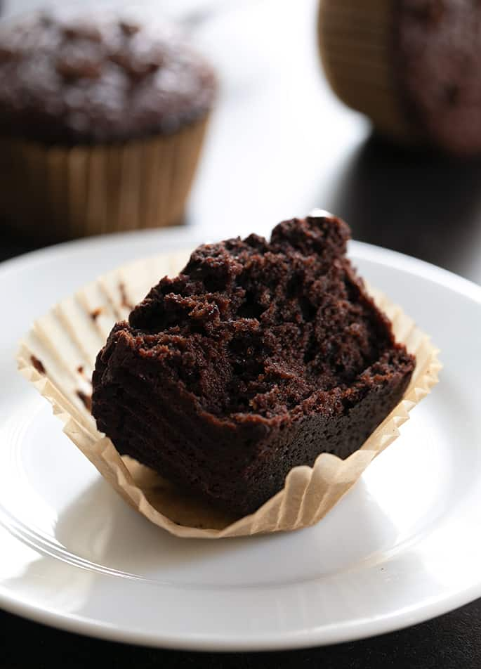 Image showing the tender inside of flourless chocolate peanut butter muffins