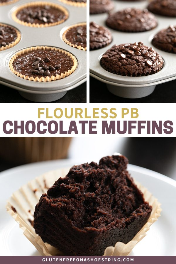 Flourless chocolate peanut butter muffins image showing them raw, baked, and inside the tender muffins.