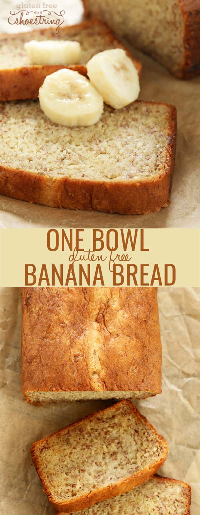 Overhead image of gluten free banana bread in a loaf and in slices
