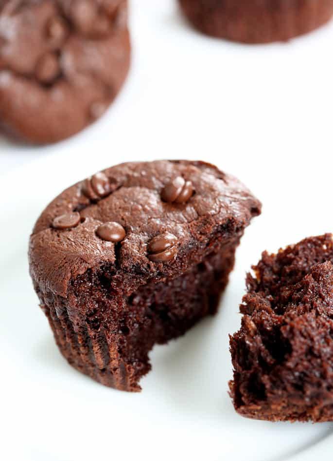 A broken flourless chocolate peanut butter muffin