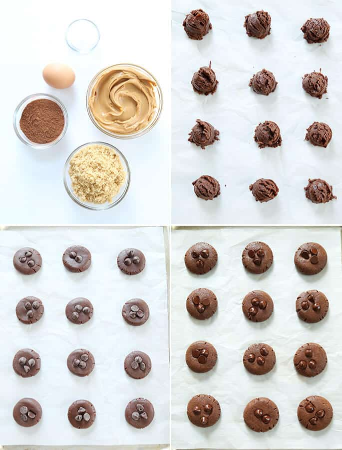 Ingredients for chocolate flourless peanut butter cookies, raw batter for the cookies, and cookies as baked on a tray
