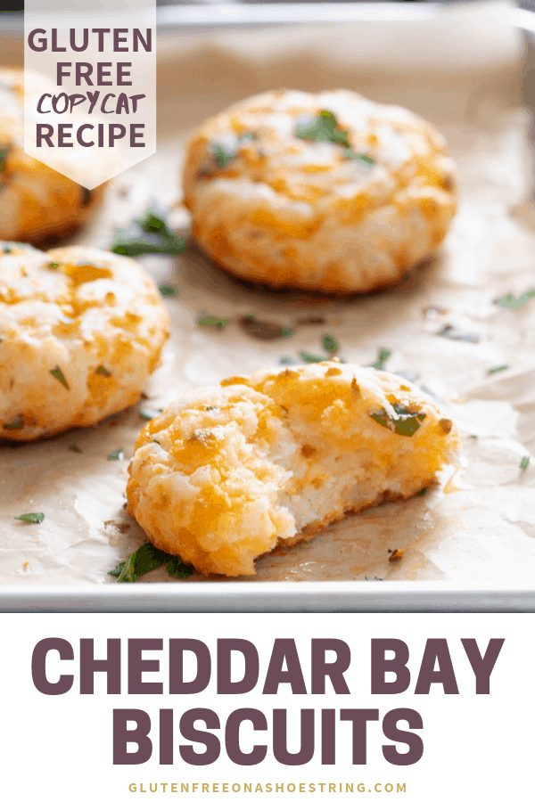 Tender Gluten Free Cheddar Bay Biscuits. Simple drop biscuits that are super easy to throw together, and taste just like the famous Red Lobster Biscuits. Perfect for any meal! #redlobster #glutenfreerecipes #biscuits #pastry