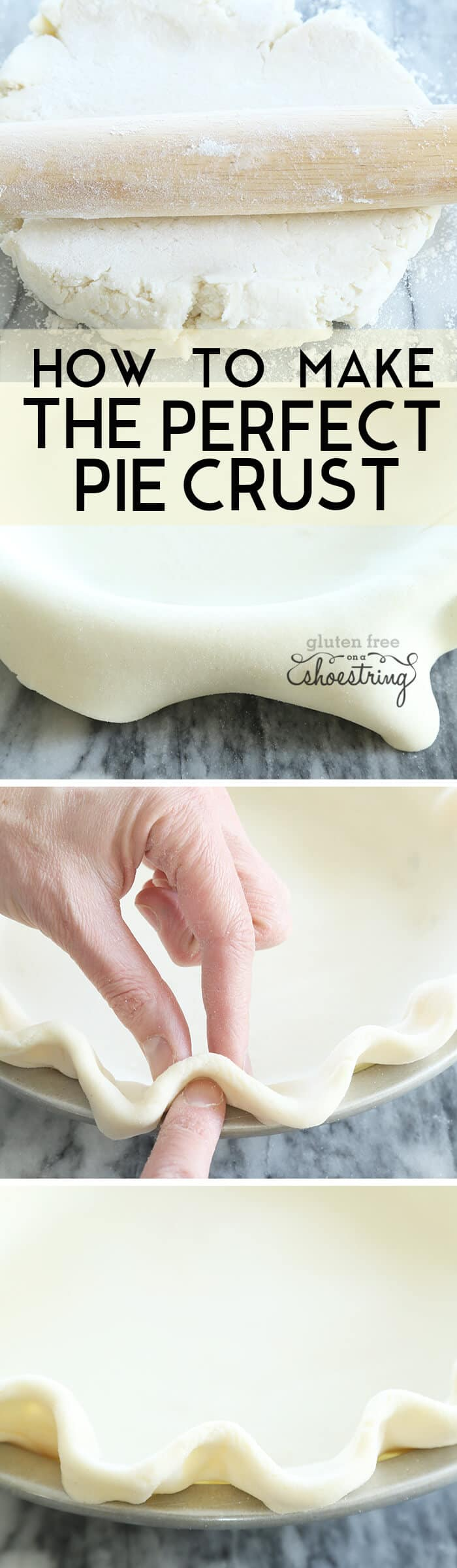 Pie curst on pie plate and pie crust being molded