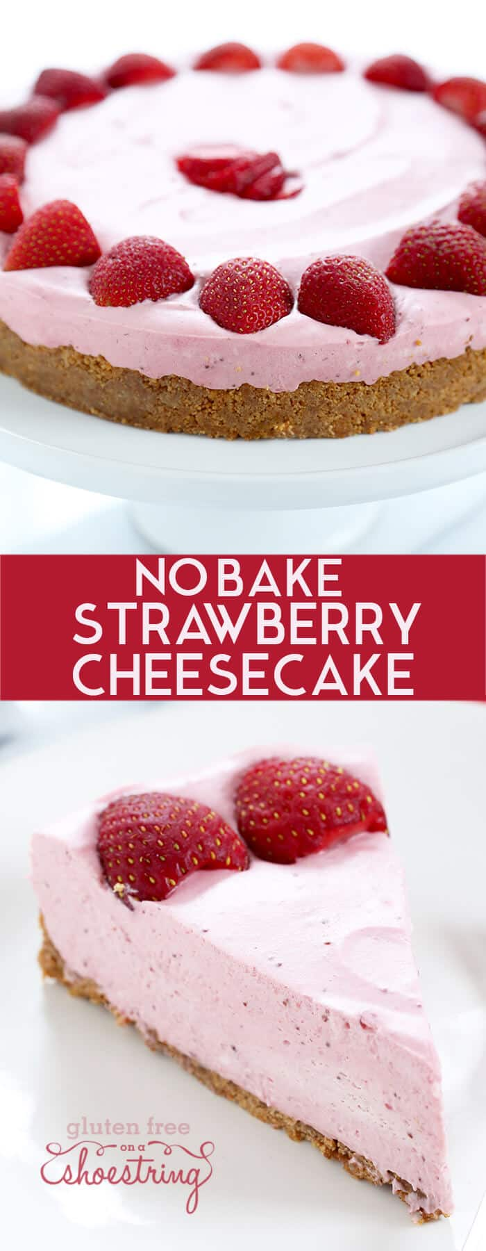 A whole strawberry cheesecake and a slice.