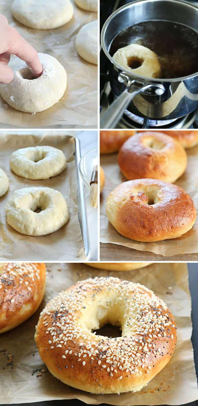 Bagel dough on parchment paper and bagels on parchment paper