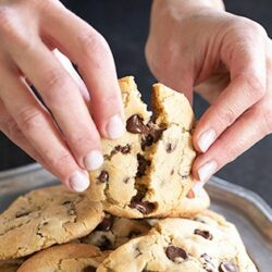 Thick & chewy gluten free chocolate chip cookies on a plate, with someone's hands breaking one open.