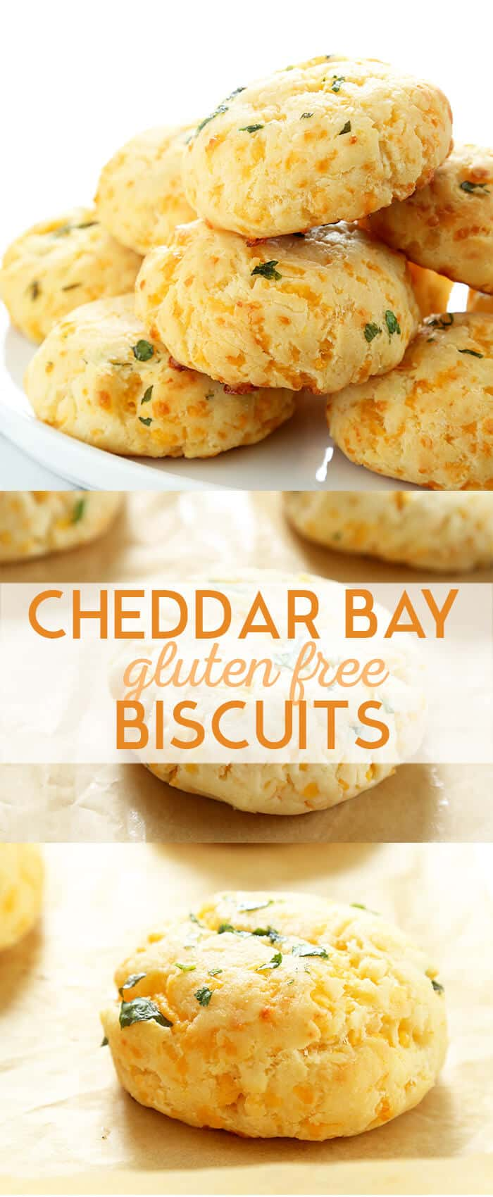 A pile of gluten free cheddar bay biscuits baked and raw on a tray
