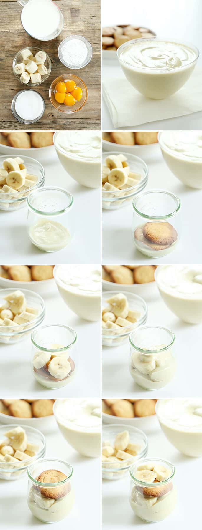 Banana pudding being assembled in jar on white surface