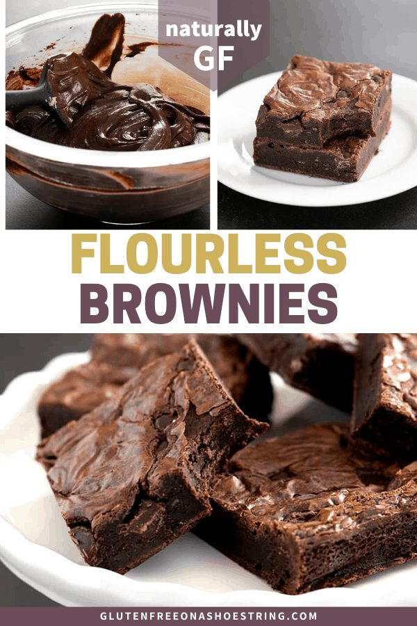 These naturally gluten free flourless brownies are rich and fudgy, with a Paleo option, too. Made simply, with melted chocolate and cocoa powder, for maximum chocolate flavor.