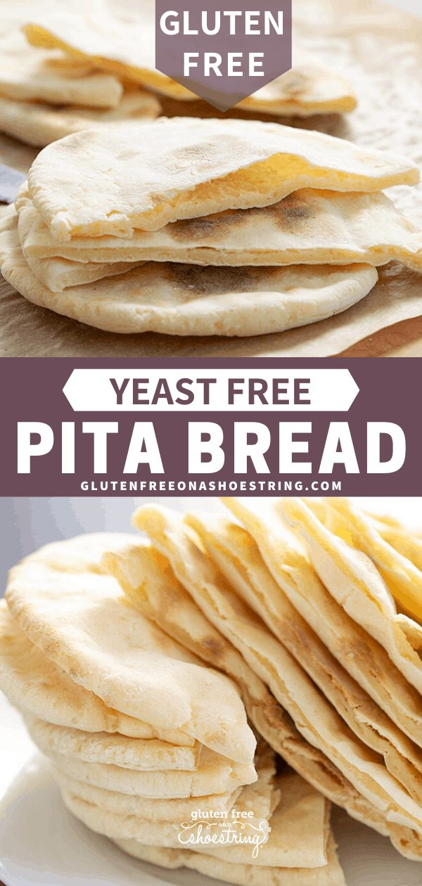 Image of gluten free quick pita bread just out of the oven, and in a stack ready to be served.
