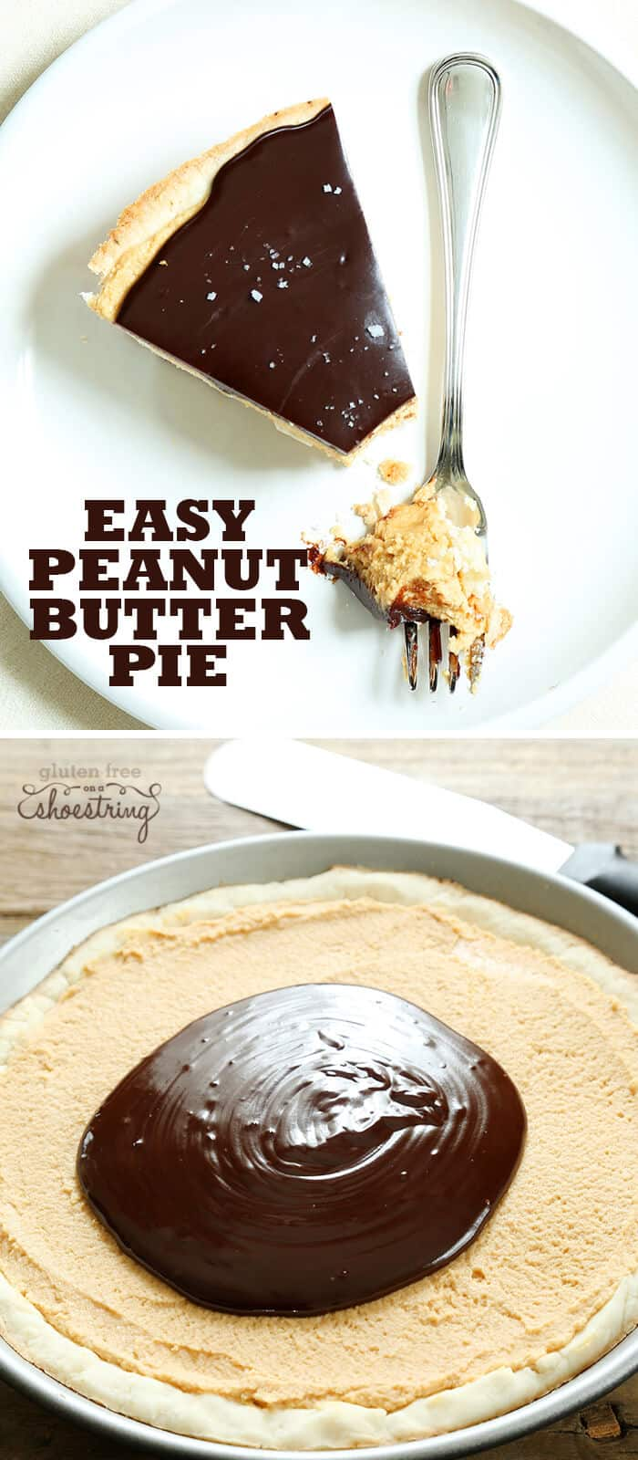 Peanut butter pie on a fork and peanut butter pie in metal pie dish